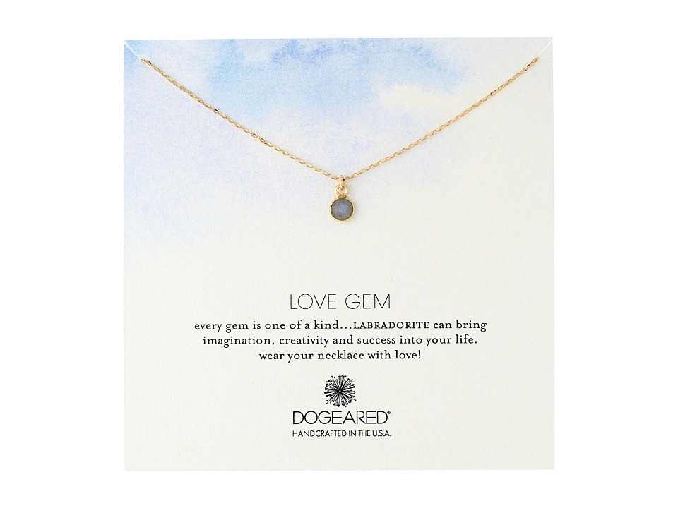Dogeared Love Gem Dangling Labradorite Necklace Gold Dipped Necklace