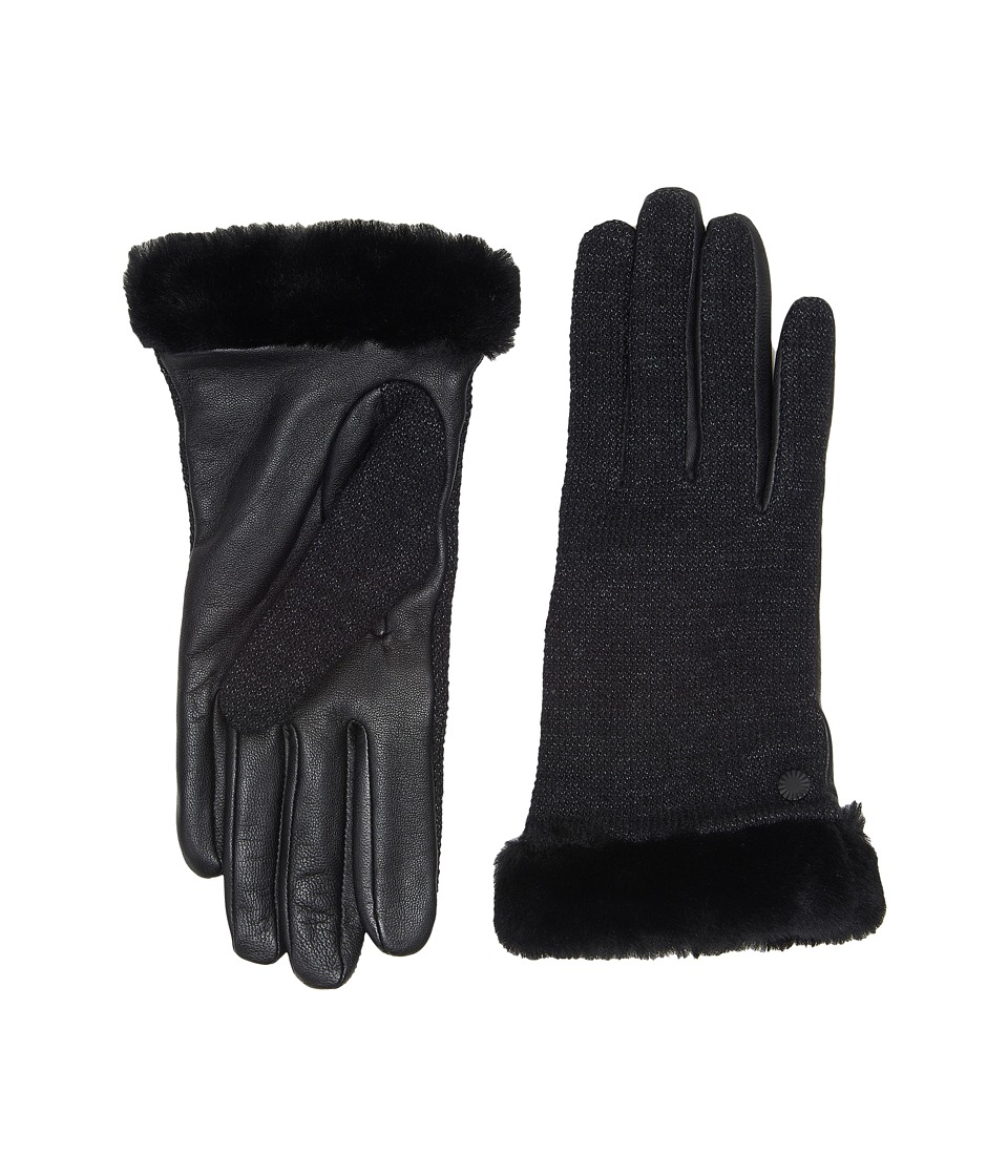 UGG - Shorty Smart Fabric Gloves w/ Short Pile Trim (Black Multi) Extreme Cold Weather Gloves