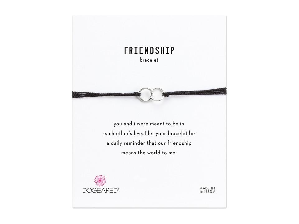 Dogeared - Friendship Double Linked Rings Silk Bracelet (Black/Sterling Silver) Bracelet