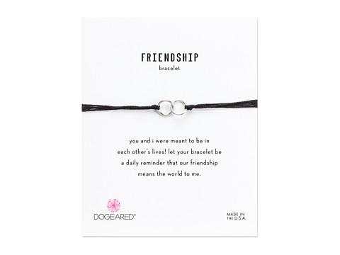 Dogeared Friendship Double Linked Rings Silk Bracelet - Black/Sterling Silver