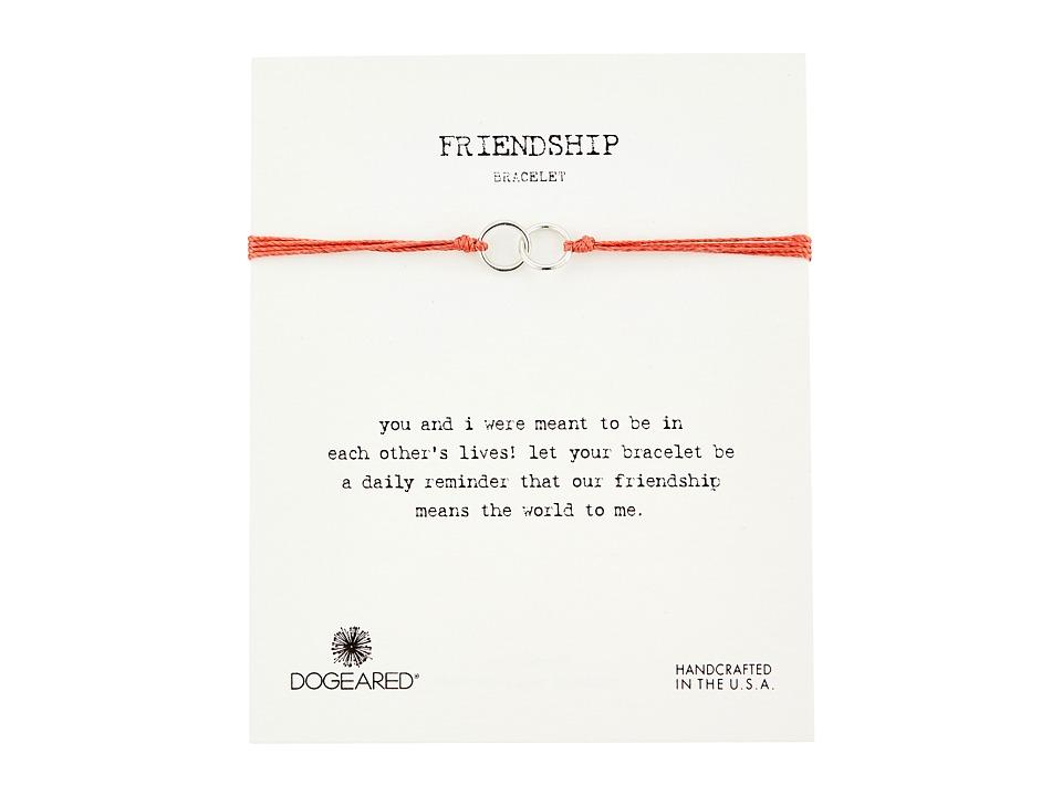 Dogeared - Friendship Double Linked Rings Silk Bracelet (Coral/Sterling Silver) Bracelet