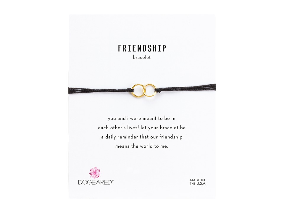 Dogeared Friendship Double Linked Rings Silk Bracelet Black/Gold Dipped Bracelet