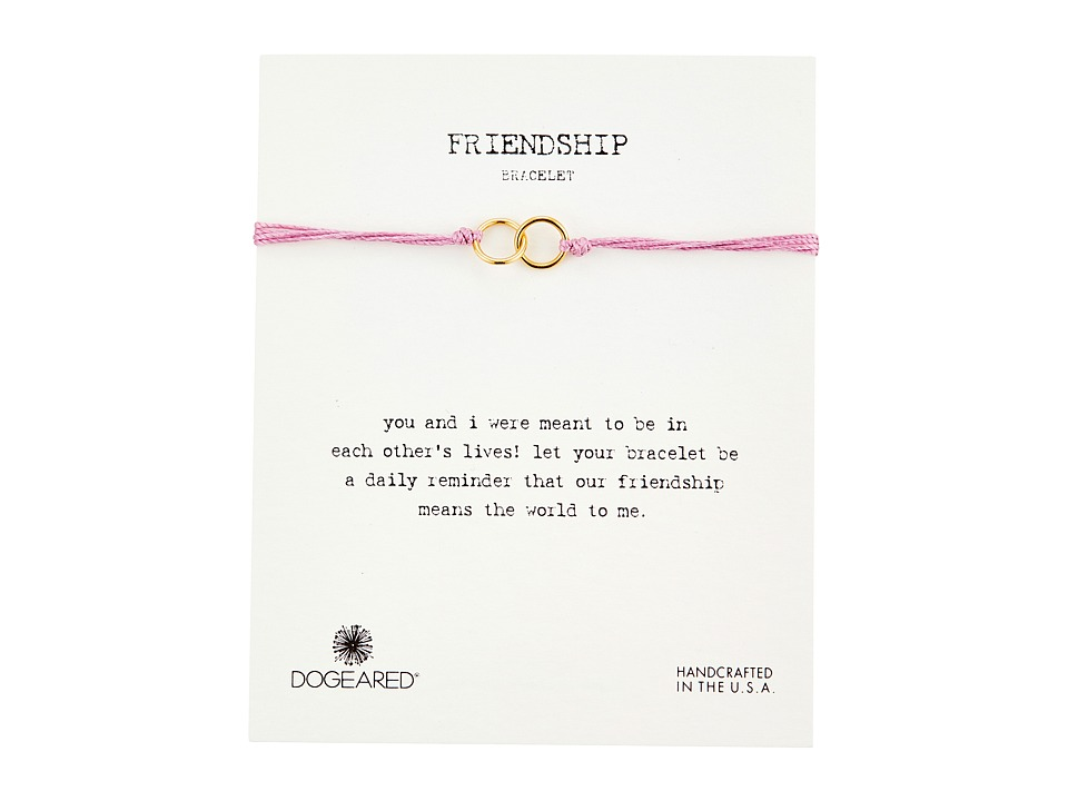 Dogeared Friendship Double Linked Rings Silk Bracelet Pink/Gold Dipped Bracelet