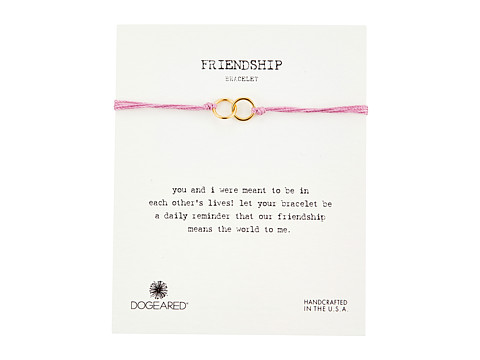 Dogeared Friendship Double Linked Rings Silk Bracelet - Pink/Gold Dipped