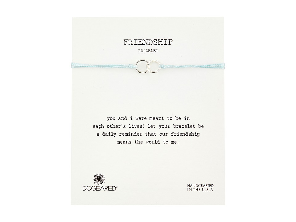 Dogeared Friendship Double Linked Rings Silk Bracelet Light Blue/Sterling Silver Bracelet