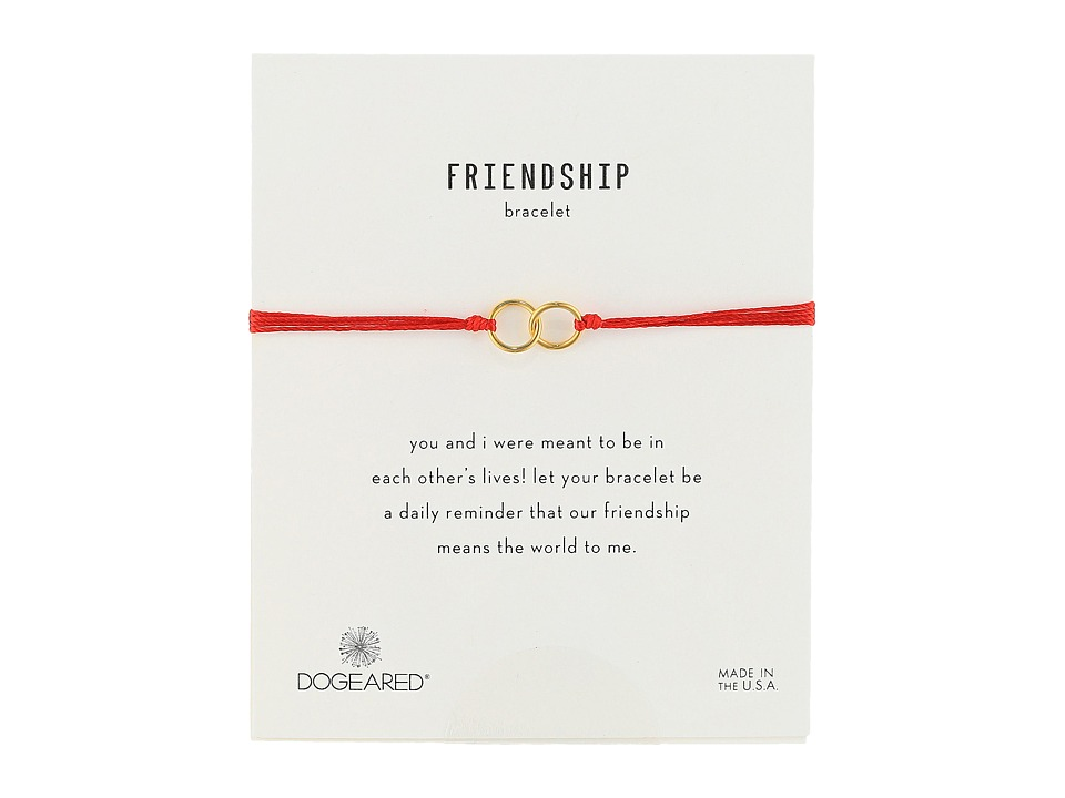Dogeared Friendship Double Linked Rings Silk Bracelet Red/Gold Dipped Bracelet