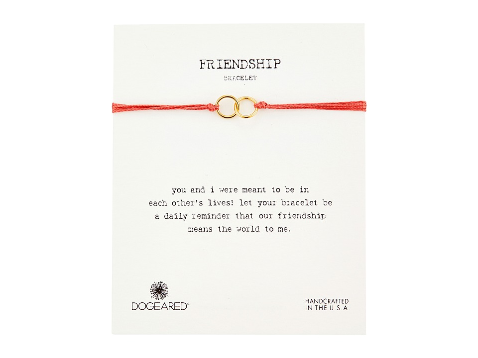 Dogeared Friendship Double Linked Rings Silk Bracelet Coral/Gold Dipped Bracelet
