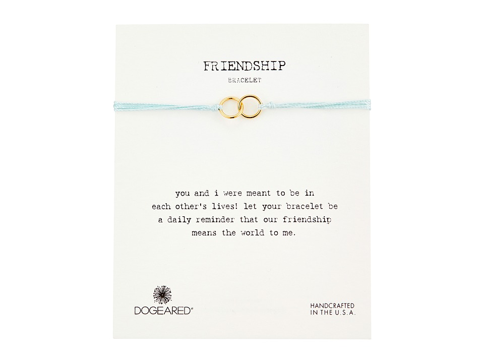 Dogeared Friendship Double Linked Rings Silk Bracelet Light Blue/Gold Dipped Bracelet
