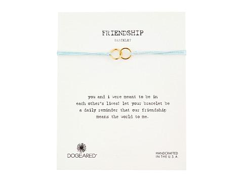 Dogeared Friendship Double Linked Rings Silk Bracelet - Light Blue/Gold Dipped
