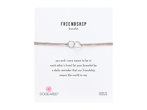 Dogeared Friendship Double Linked Rings Silk Bracelet - Taupe/Sterling Silver