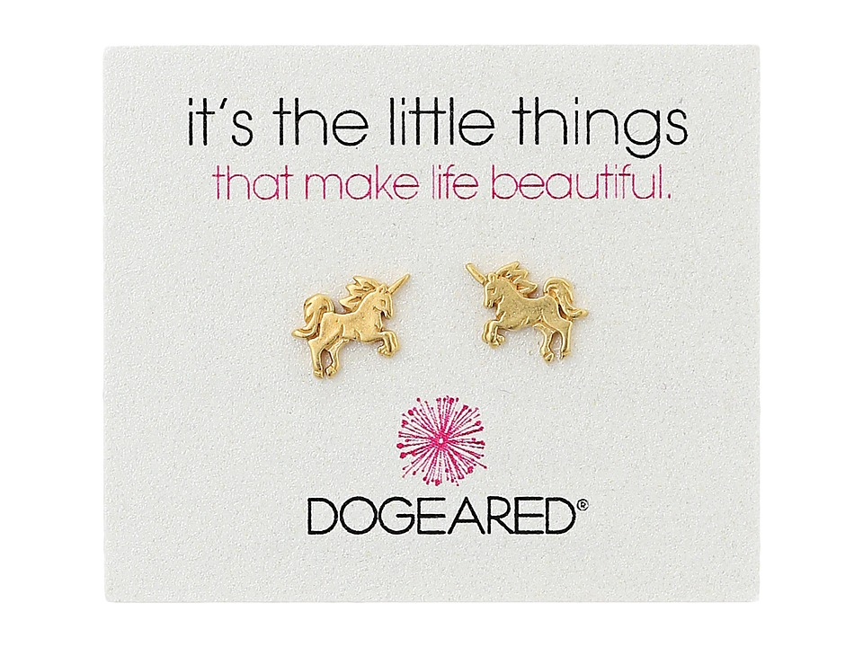 Dogeared Little Things Unicorn Stud Earrings (Gold Dipped...