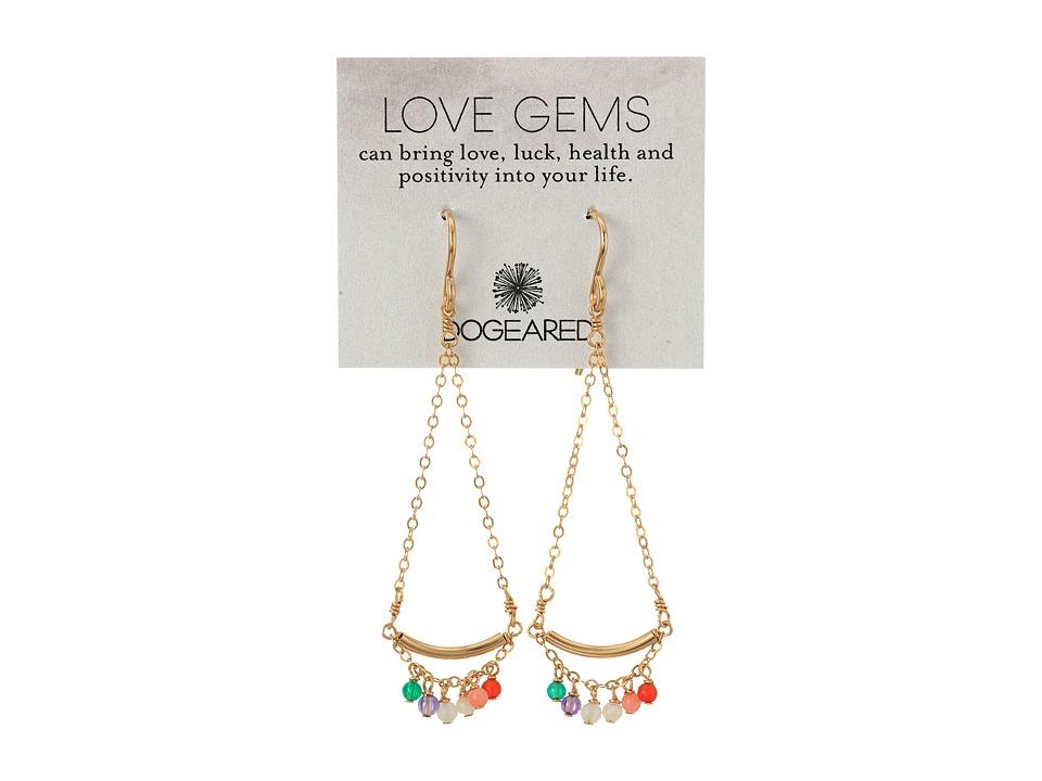 Dogeared Love Gems Multi Gem Swing Earrings Gold Dipped Earring