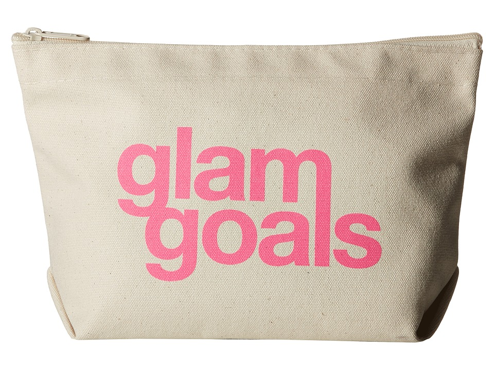 Dogeared Glam Goals Lil Zip Pink/Canvas Cosmetic Case