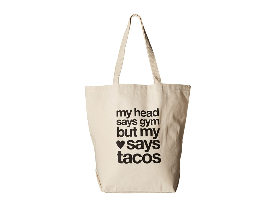 Dogeared - My Head Says Gym Tote (Black/Canvas) Tote Handbags