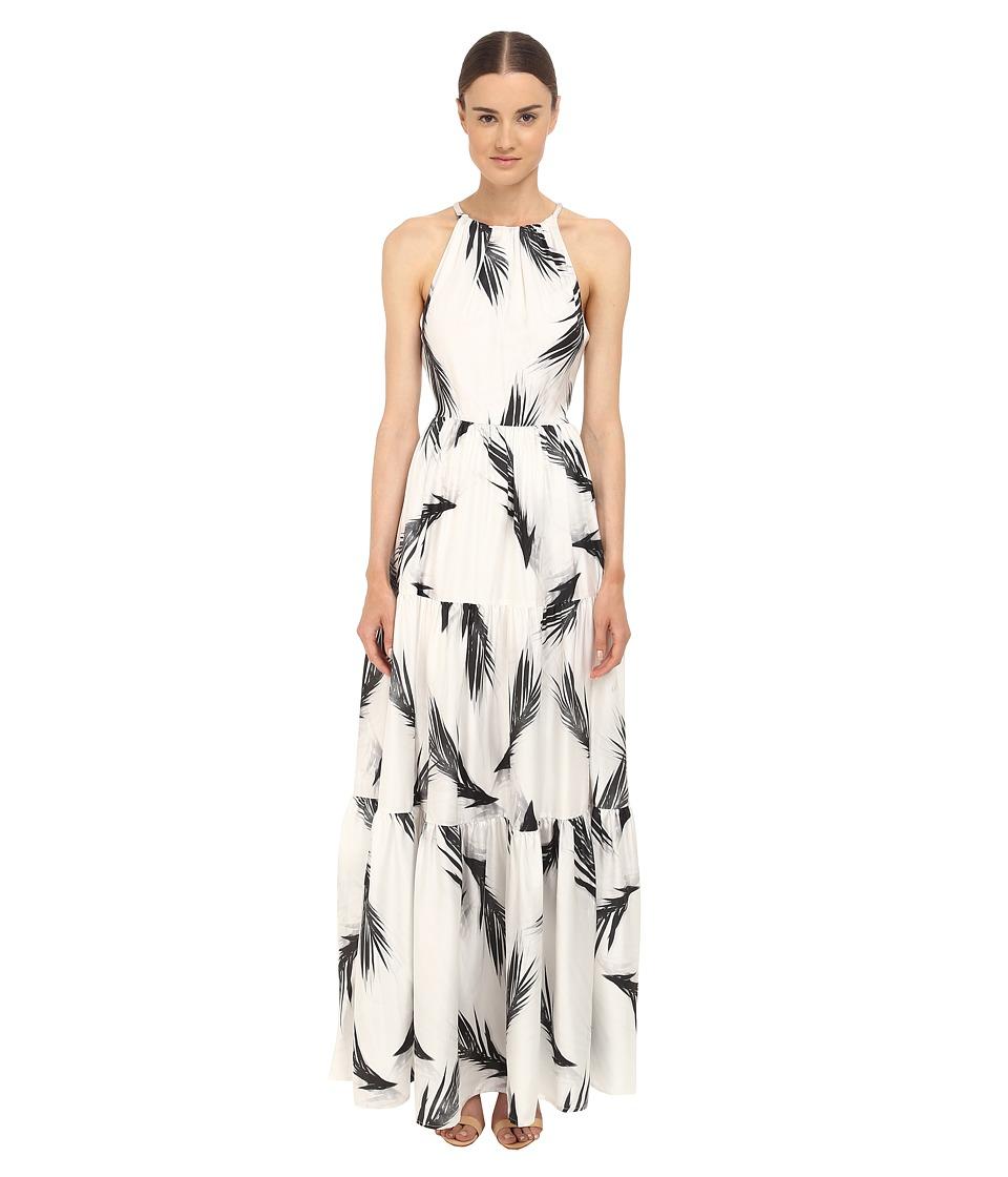 ZAC Zac Posen Palm Printed Maeve Maxi Dress Black/White Womens Dress