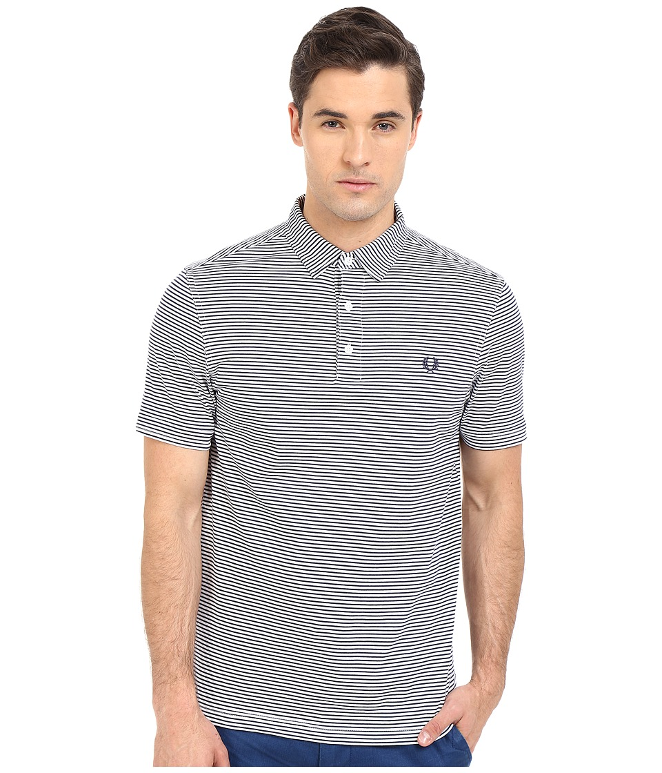 Fred Perry Fine Stripe Shirt White/Carbon Blue Stripe Mens Short Sleeve Pullover