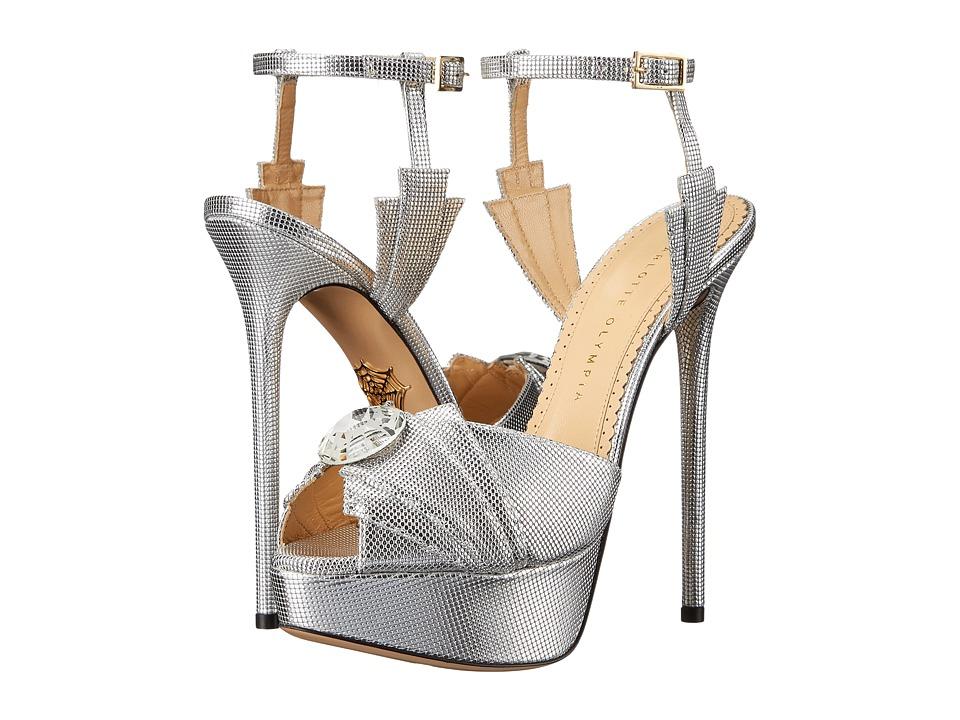 Charlotte Olympia Sky Scraper Sandals (Silver Textured Metallic Calfskin) High Heels