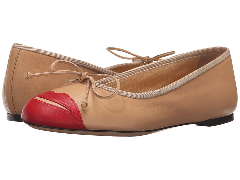 Charlotte Olympia Kiss Me Darcy (Nude/Red Calfskin) Slip-On Shoes