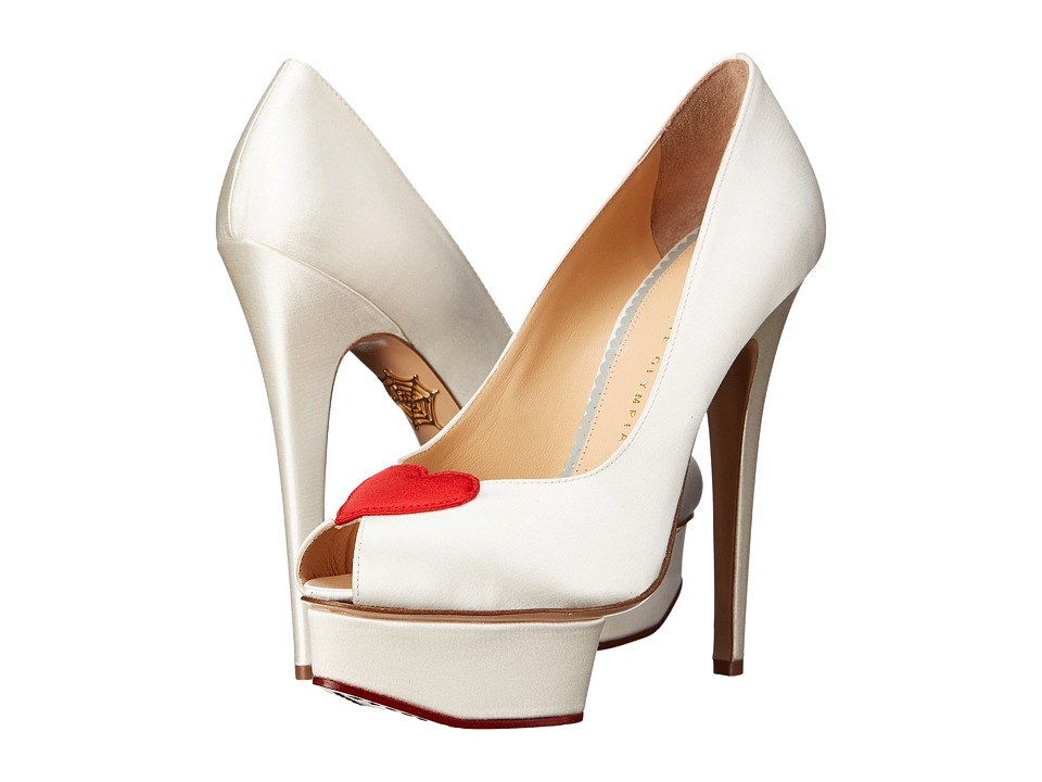 Charlotte Olympia Delphine White/Red Silk Satin High Heels