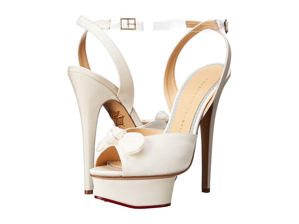 Charlotte Olympia Serena Ivory Silk Twill High Heels