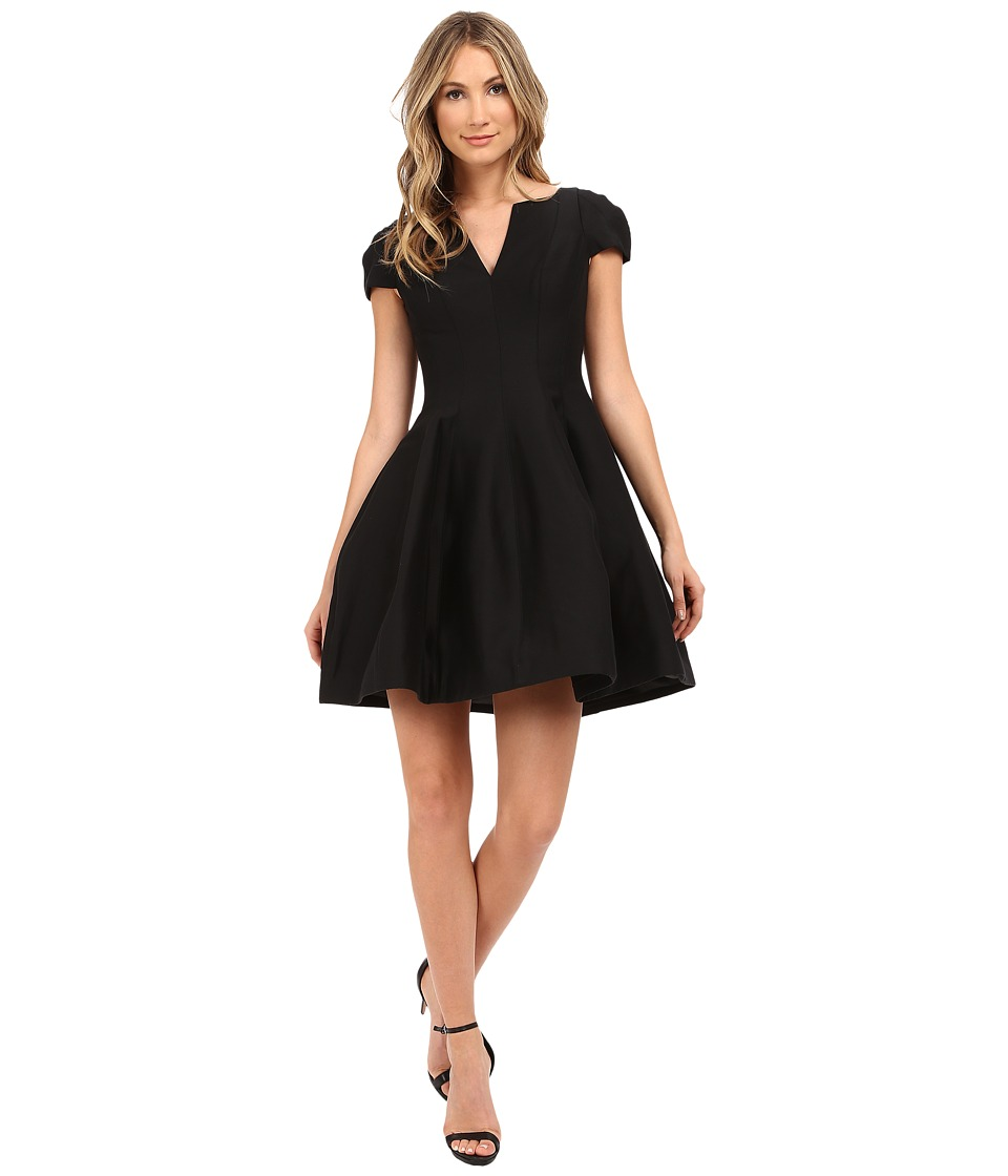 Halston Heritage Short Sleeve Notch Neck Dress with Tulip Skirt (Black) Women