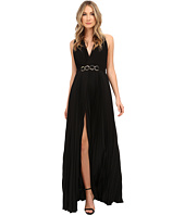 Halston Heritage - Sleeveless V-Neck Gown with Pleated Skirt