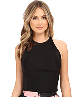Halston Heritage - Sleeveless High Neck Fitted Structured Top