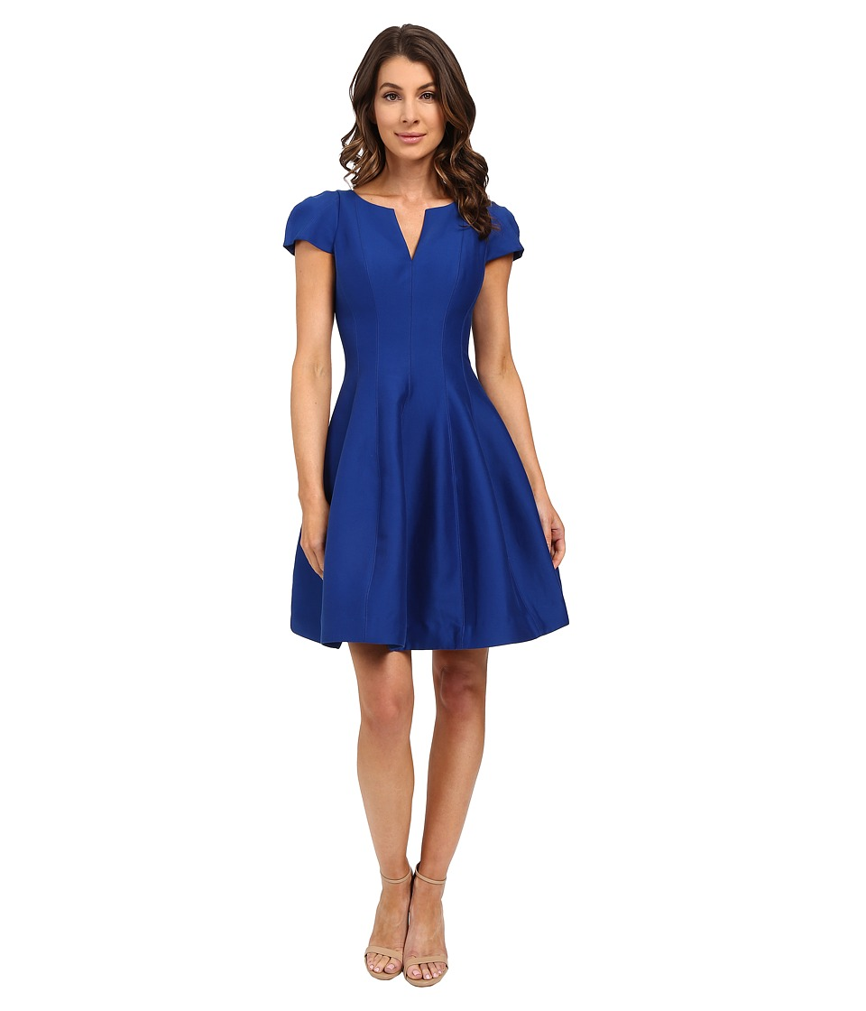Halston Heritage Short Sleeve Notch Neck Dress with Tulip Skirt (Cobalt) Women