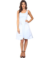 Halston Heritage - Sleeveless Round Neck Satin Faille Dress with Skirt Overlay