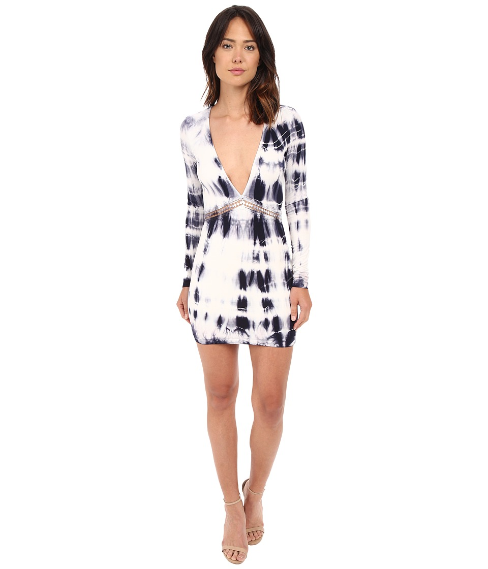 Gypsy05 Long Sleeve Deep V Mini Dress with Lace Detail Iris Womens Dress