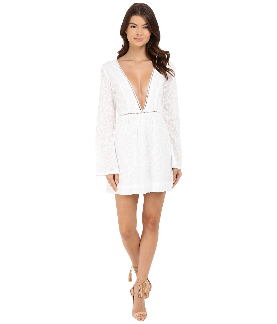 Gypsy05 Long Sleeve Deep V Mini Dress White Womens Dress