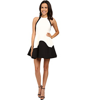 Halston Heritage - Sleeveless High Neck Color Blocked Structured Dress