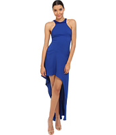 Halston Heritage - Sleeveless Round Neck Gown with Asymmetrical Skirt