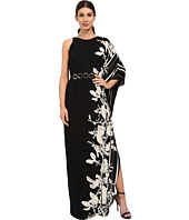 Halston Heritage - One Sleeve Printed Gown with Curved Circle Belt