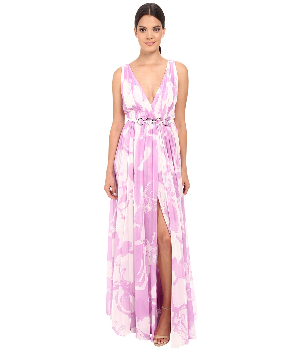 Halston Heritage Sleeveless V-Neck Print Blocked Chiffon Gown (Oyster/Tullip Orchid All Over Print) Women