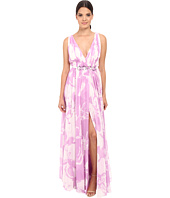 Halston Heritage - Sleeveless V-Neck Print Blocked Chiffon Gown