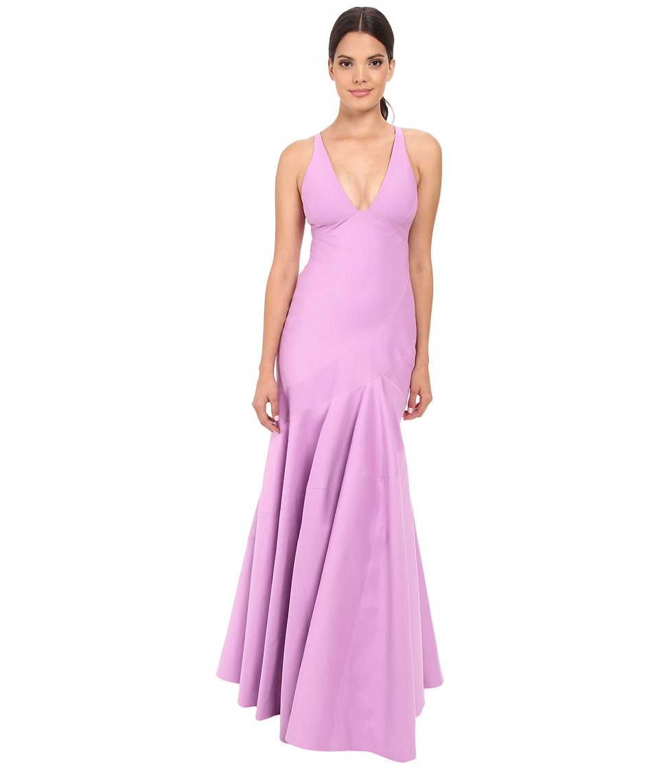 Halston Heritage Sleeveless V-Neck Structured Gown with Seam Detail (Tulip) Women