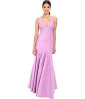 Halston Heritage - Sleeveless V-Neck Structured Gown with Seam Detail