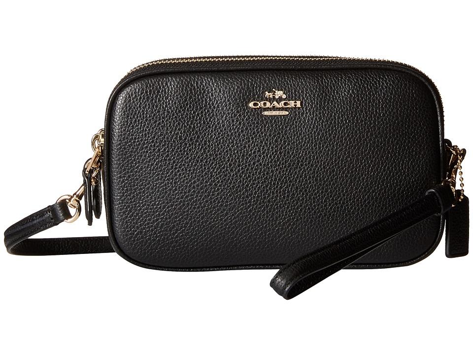 COACH - Pebbled Crossbody Clutch (LI/Black) Clutch Handbags