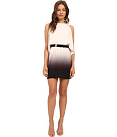 Halston Heritage - Short Sleeve Round Neck Ombre Dress with Cold Shoulder & Belt