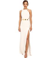 Halston Heritage - Asymmetrical Strap Gown with Split Detail
