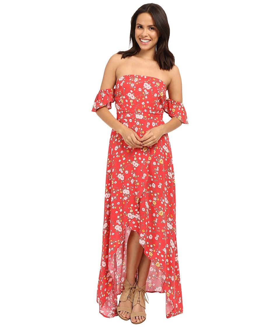Brigitte Bailey Nichelle Off the Shoulder Floral Maxi Dress Red Womens Dress