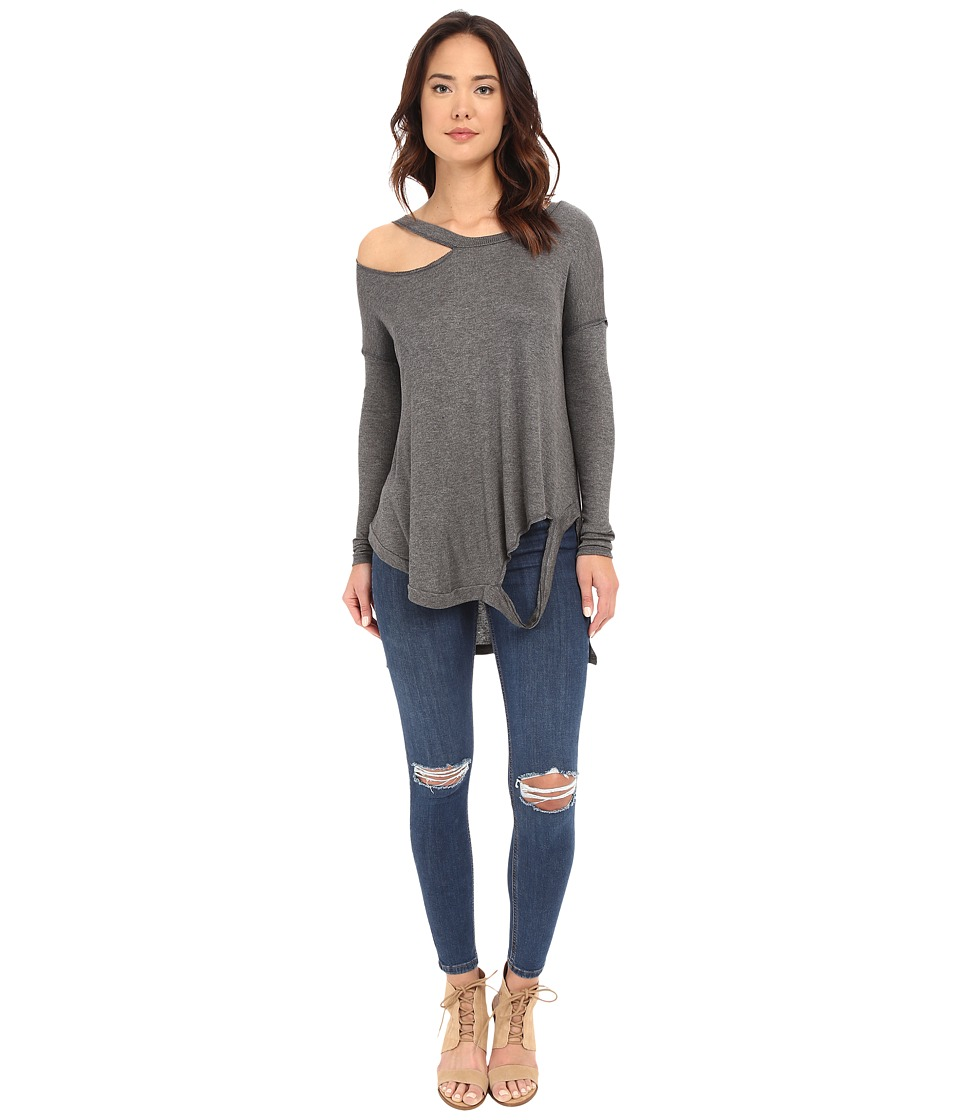 Brigitte Bailey Cassidy Long Sleeve Ripped Top Charcoal Womens Clothing