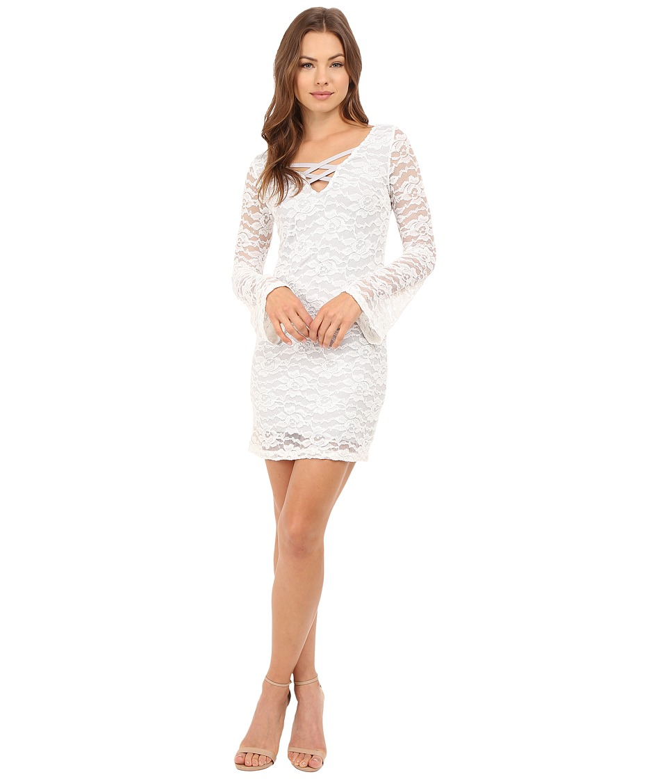 Brigitte Bailey Kelli Long Sleeve Lace Dress White Womens Dress