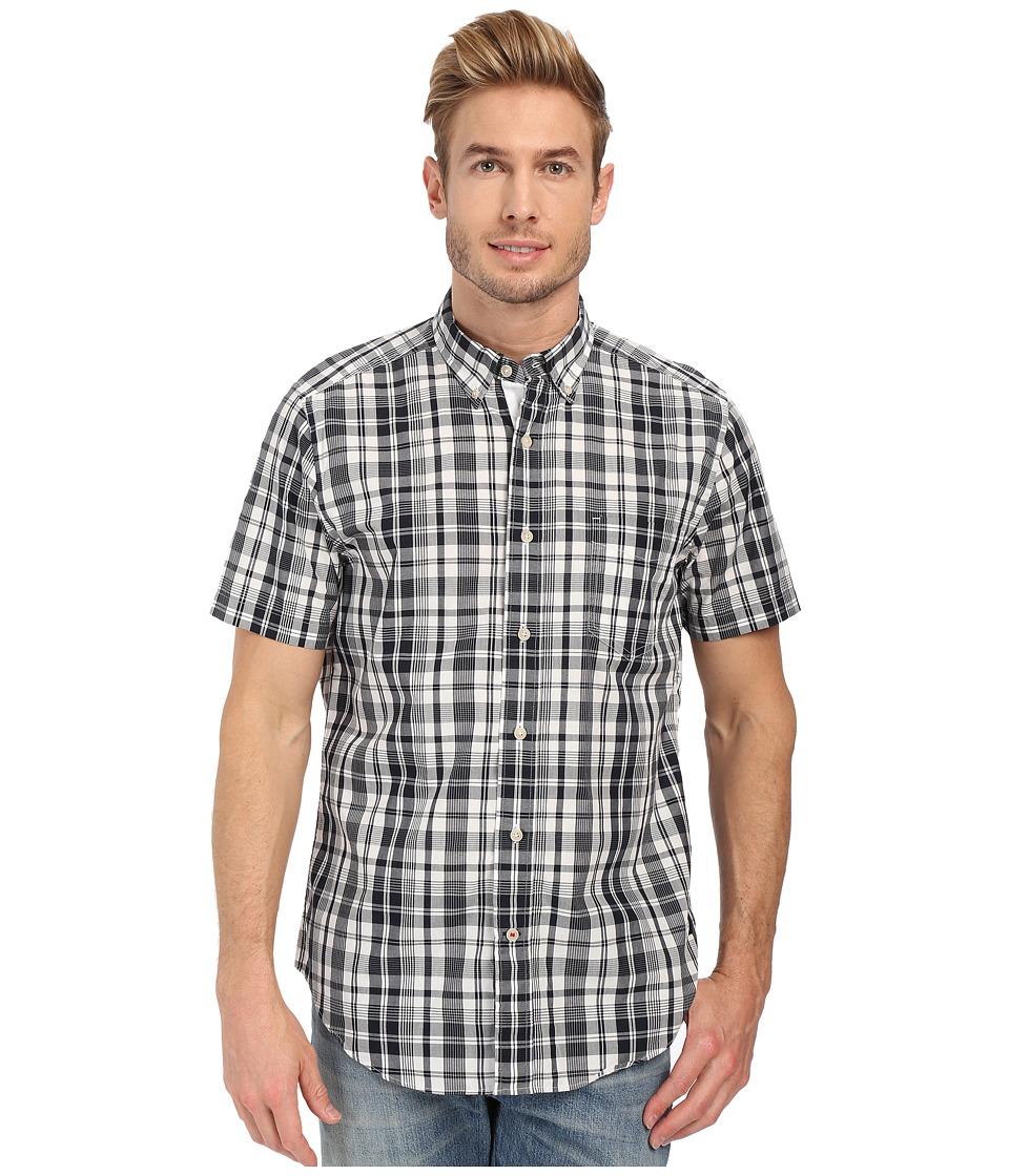 Nautica Short Sleeve Plaid Pocket Navy Mens Clothing