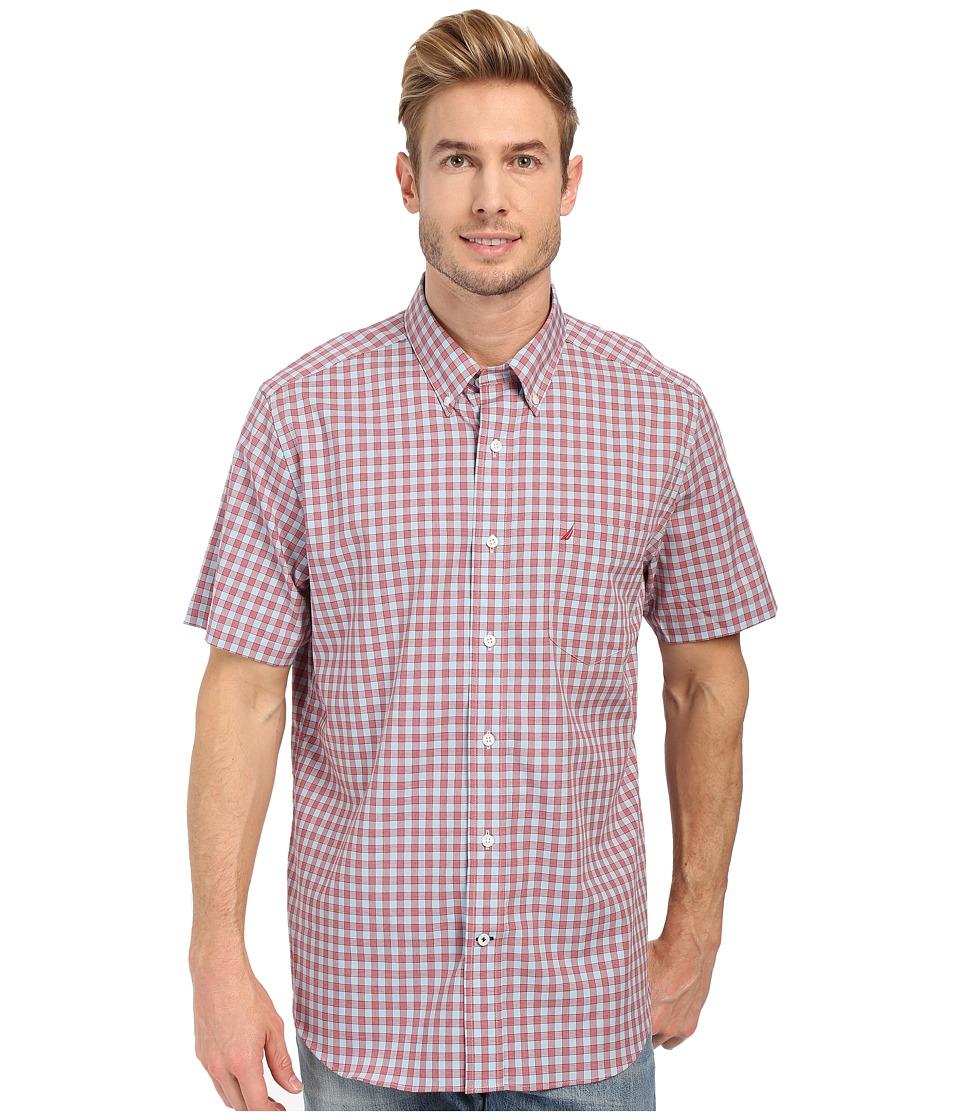 Nautica Short Sleeve Wrinkle Resistant Medium Gingham Pocket Vintage Red Mens Short Sleeve Button Up