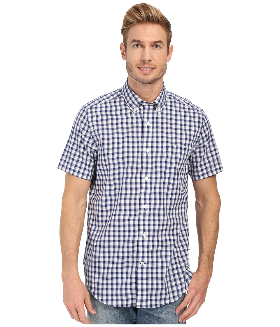 Nautica Short Sleeve Wrinkle Resistant Plaid Pocket Blue Print Mens Clothing