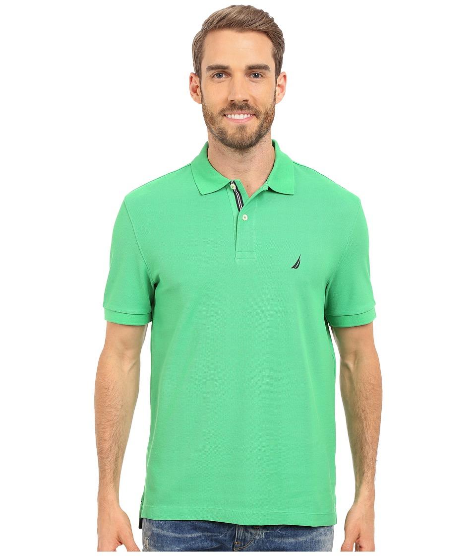 Nautica Short Sleeve Solid Deck Polo Summer Green Mens Short Sleeve Knit