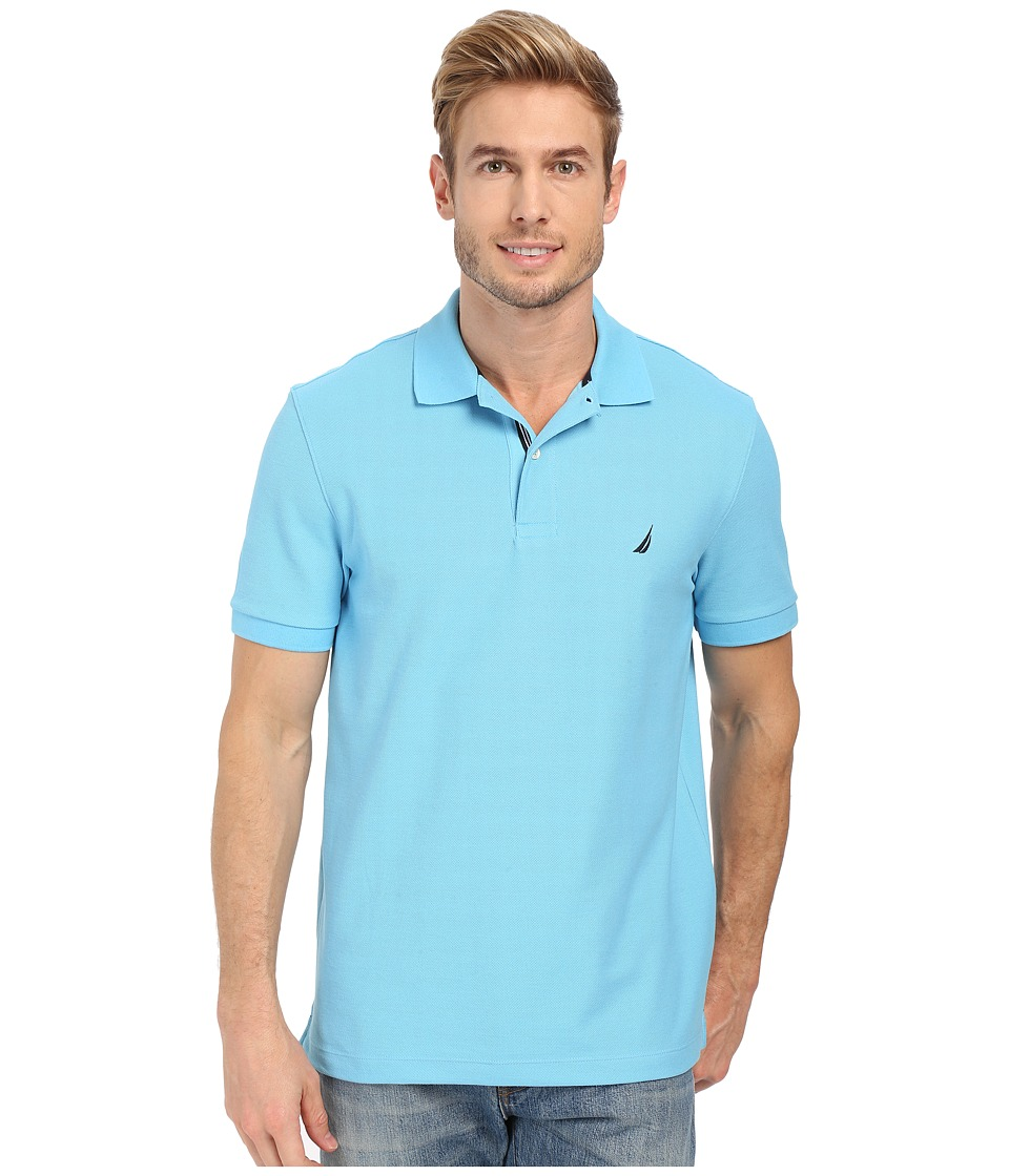 Nautica Short Sleeve Solid Deck Polo Blue Grotto Mens Short Sleeve Knit