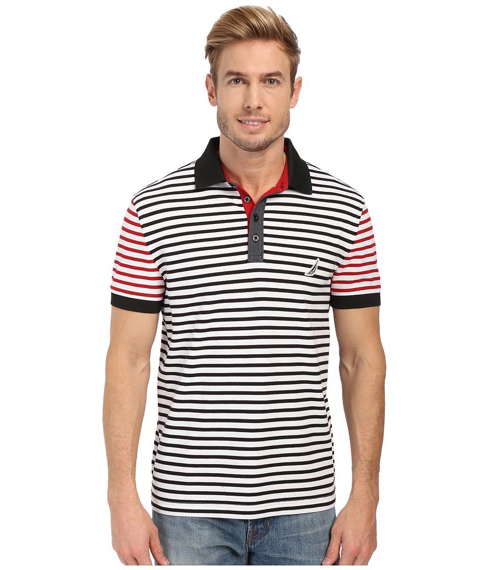 Nautica Short Sleeve Stripe Block Polo Bright White Mens Short Sleeve Pullover